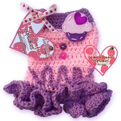 Lavender Cream PupCakes Cozy Crochet Dog Dress