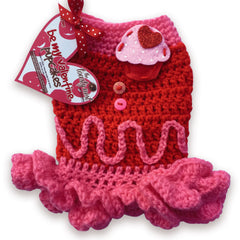 Berry Cherry Pupcake Cozy Crochet Dog Dress