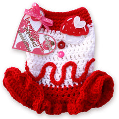Red Velvet PupCakes Cozy Crochet Dog Dress