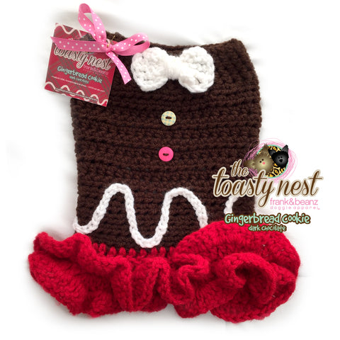 Gingerbread Cookie Dark Chocolate Cherry Crochet Dog Dress