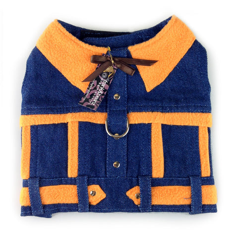 Yee-Haw Henry Denim Dog Harness Jacket