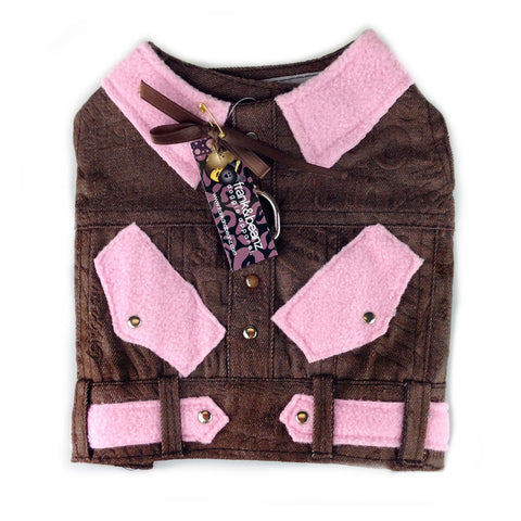 Giddy-Up Pink Denim Dog Harness Jean Jacket
