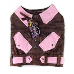 Pink and Brown Denim Dog Jacket, Dog Harness, Dog Clothes- Giddy Up