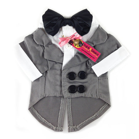 "Gray Dog Tuxedo, Dog Clothes- ""50 Shades of Grey Style"""