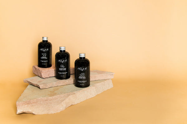 Leather Care Set by Nena & Co. styled on standstone rock with an orange background.