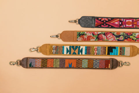 Flat lay of one of a kind bag straps in Mexico and Guatemala Collections
