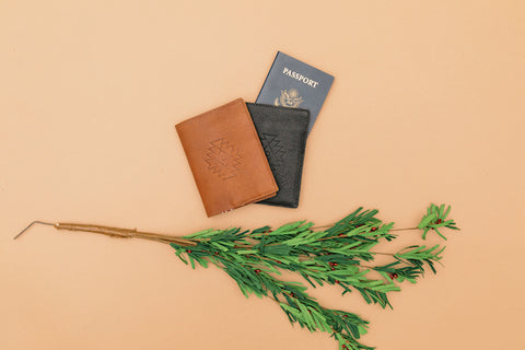 Flat lay of Nena & Co. passport case in both black and tan leather