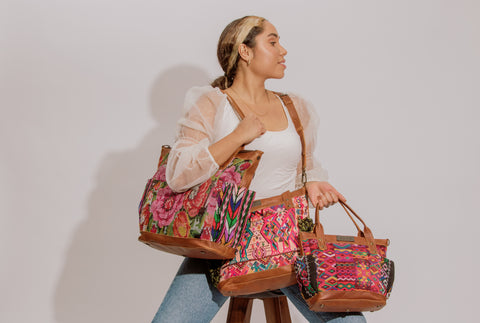 woman modeling the perfect bags in small, medium, and full