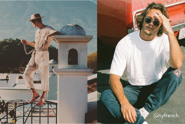 Collage of a male model posing on a rooftop in Guatemala and sitting in front of a vintage car.