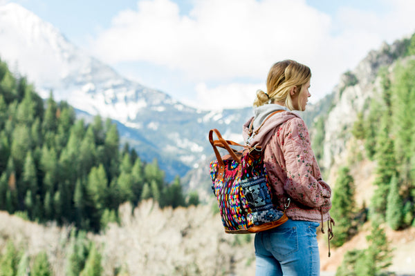 Girl with a Nena & Co. backpack in nature