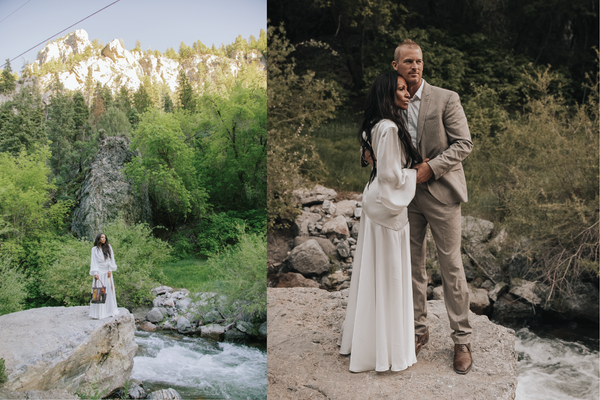 A collage of two photos. One image shoes a beautiful black female model by a river and on the other side her husband joins her.