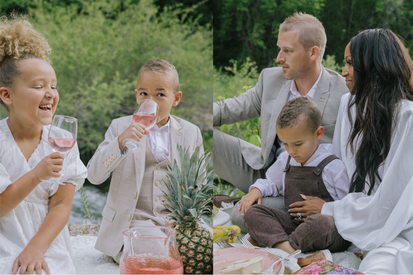 A collage of a biracial family. On one side there are two children drinking sparkling cider and the other photo is of the parents with their smallest child.