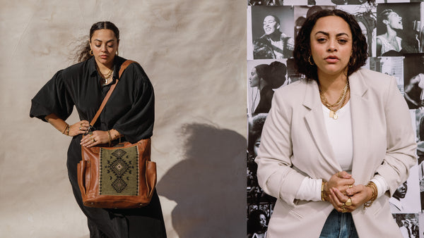 Photo collage with Nena & Co. and Jenni Kaufusi. One photo is of her modeling the purse and the other is a portrait of her looking fierce.