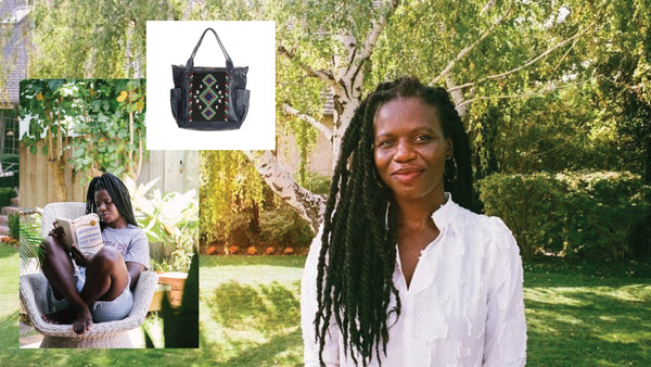 Photo collage of a collaboration between Nena & Co. and Cheryl. Two photos of her and one photo of the womanhood bag she helped design