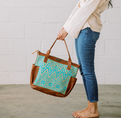 THE PERFECT BAG FULL - ARTISAN VALIANT SAND & TEAL - CAFE LEATHER