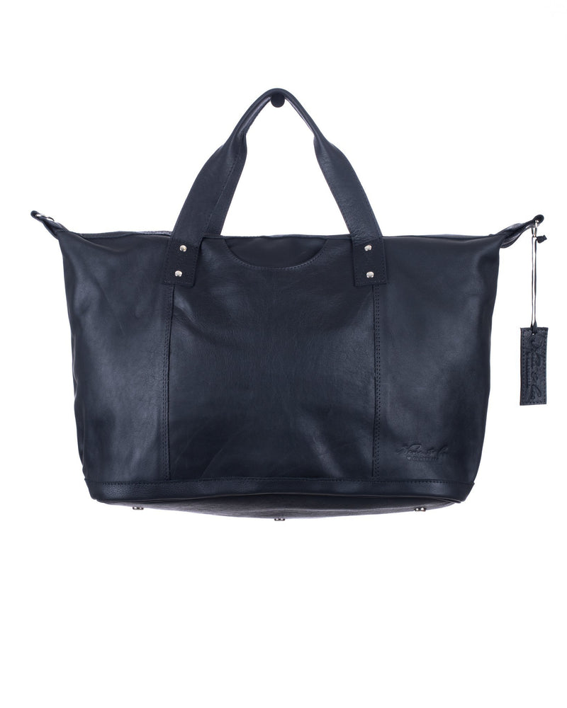 FULL LEATHER WEEKENDER WITH ARTISAN LINER - MATTE BLACK