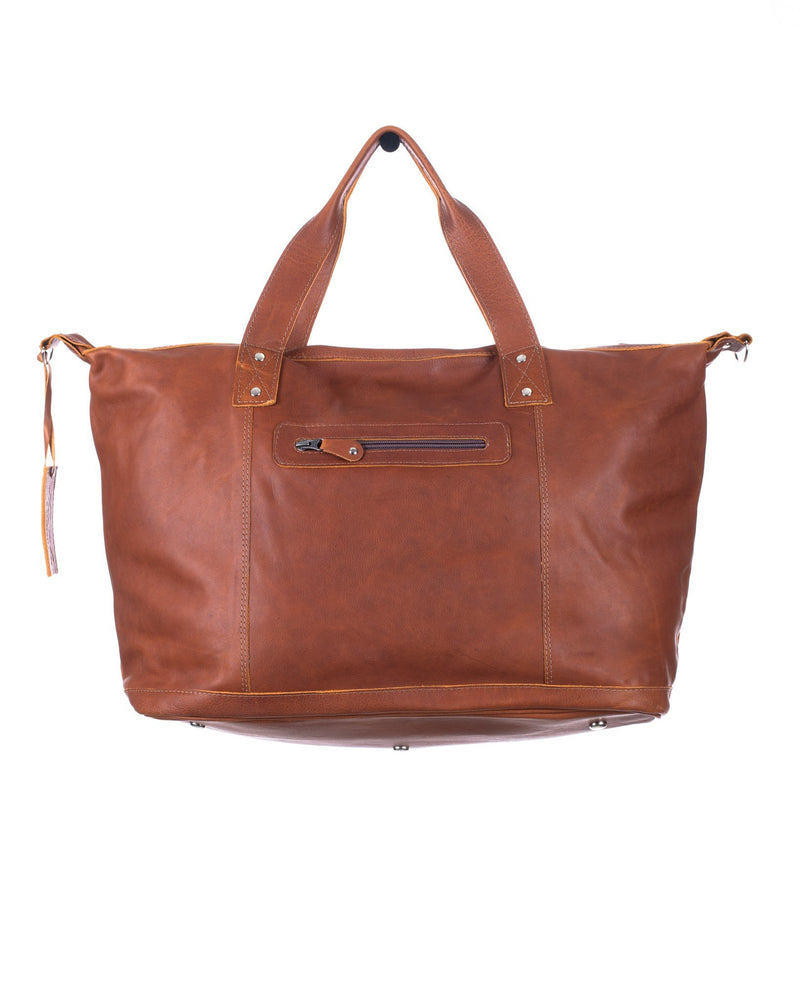 FULL LEATHER WEEKENDER WITH ARTISAN LINER - CAFE