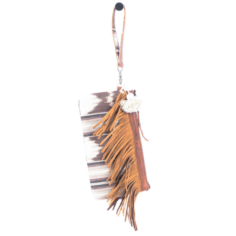 ARTISAN THE PERFECT FRINGE CLUTCH - FUERZA - CAFE LEATHER