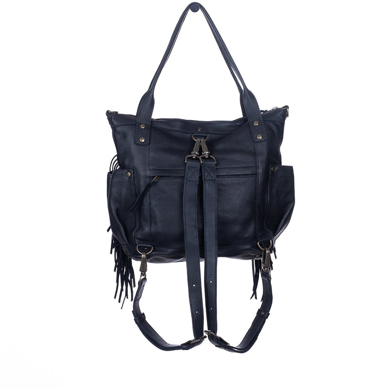 THE PERFECT FRINGE BAG BLUE LAGOON MEDIUM BLACK