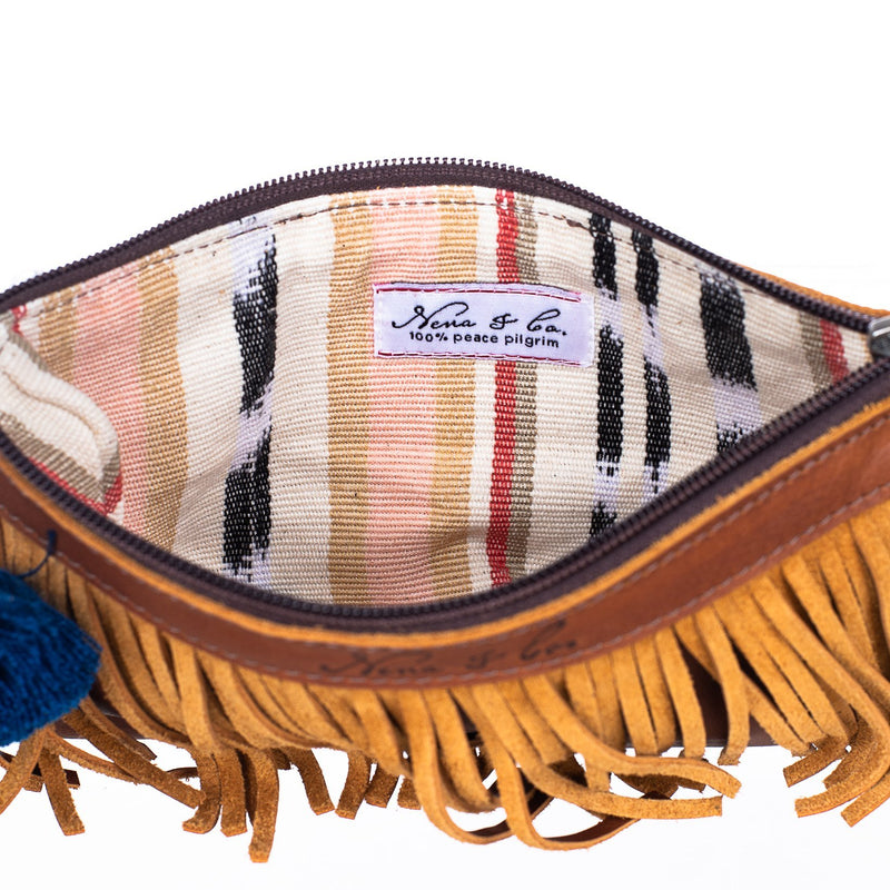 ARTISAN THE PERFECT FRINGE CLUTCH - FULL LEATHER - CAFE
