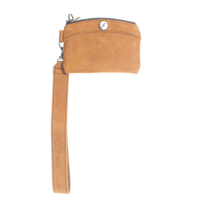 COIN PURSE WITH WRISTLET - MEXICO COLLECTION - TOBACCO LEATHER