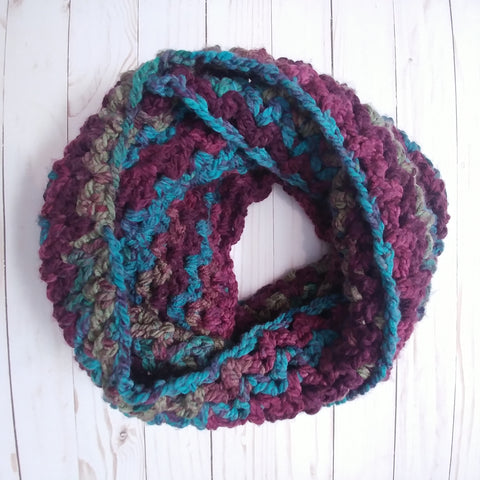 Chevron Infinity Scarf in Jewel Tones