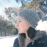 Slouchy Beanie in Soft Grey and Pink
