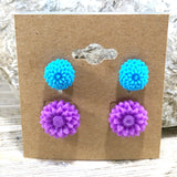 Teal and Purple Florals Post Earring Set