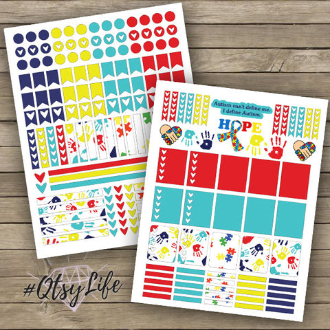 Autism Awareness Free Printable Planner Stickers