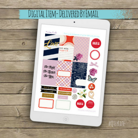 Be Bold Powerful Positive Printable Planner Stickers by QtsyLife for the happy planner on qtsylife.com