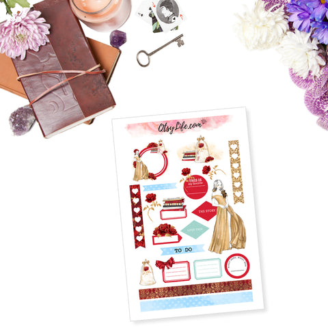Beauty and the Beast Belle Printable Planner Stickers