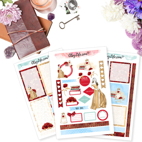 Beauty and the Beast Belle Printable Planner Stickers for The Happy Planner