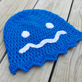 Blue Pacman Ghost Crochet Beanie - #QtsyLife  Fashion and Planner Accessories - QtsyLife.com