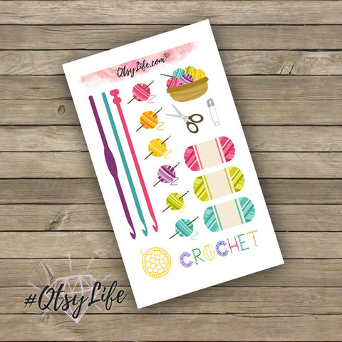 Crochet planner stickers made to fit any planner done in a rainbow color scheme on QtsyLife.com