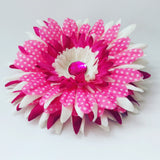 Polka Dot Daisy Hair Flower in Pink and White - #QtsyLife  Fashion and Planner Accessories - QtsyLife.com
