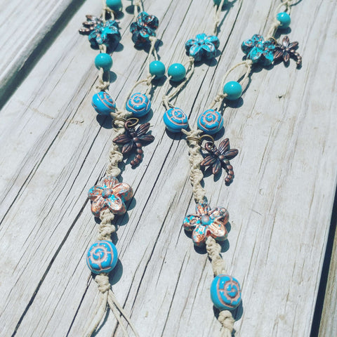 Dragonfly Flower Turquoise Barefoot Sandals - #QtsyLife  Fashion and Planner Accessories - QtsyLife.com