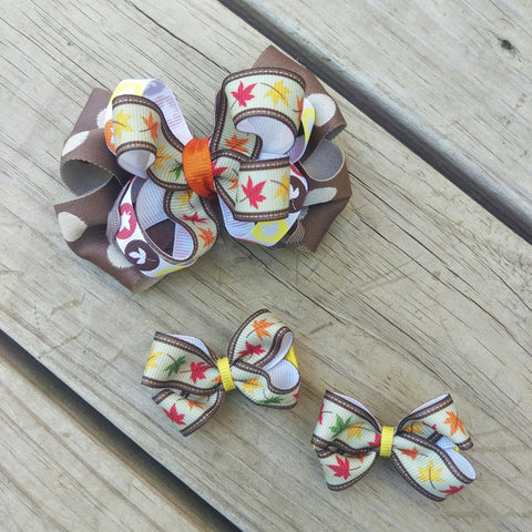 Fall Leaves Hair Bow Gift Set - #QtsyLife  Fashion and Planner Accessories - QtsyLife.com