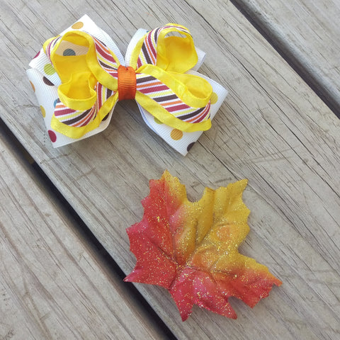 Autumn Polka Dots and Stripes Hair Bow Gift Set - #QtsyLife  Fashion and Planner Accessories - QtsyLife.com