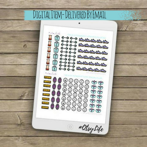 Fitness Planner Printable Stickers by QtsyLife  Fashion and Planner Accessories on QtsyLife.com