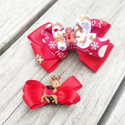 Gingerbread Man Hair Bow Set - #QtsyLife  Fashion and Planner Accessories - QtsyLife.com