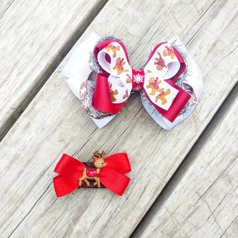 Gingerbread Man Holiday Hair Bow Gift Set - #QtsyLife  Fashion and Planner Accessories - QtsyLife.com