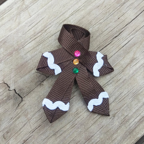Gingerbread Man Ribbon Sculpture Holiday Hair Bow - #QtsyLife  Fashion and Planner Accessories - QtsyLife.com
