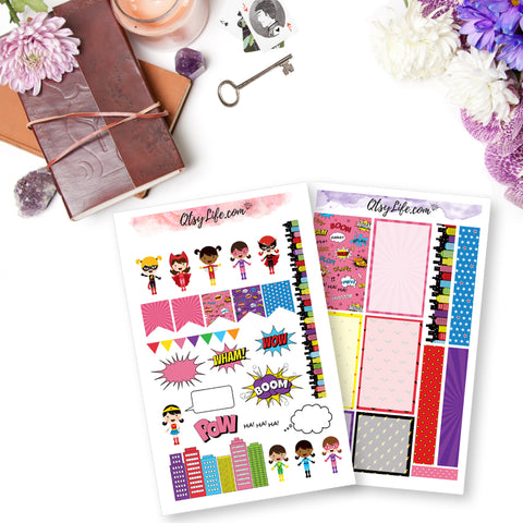 Girl power super hereo comic style girls planner stickers memory planner stickers scrapbooking and birthday party stickers great for penpals too
