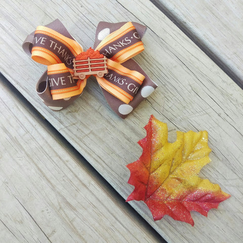 Give Thanks Fall Pumpkin Hair Bow Gift Set - #QtsyLife  Fashion and Planner Accessories - QtsyLife.com