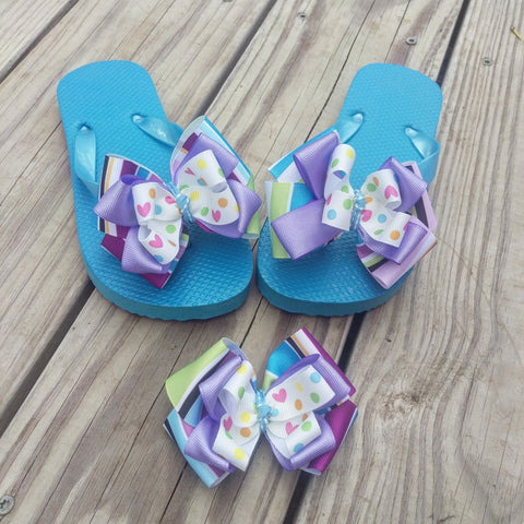 Kids Hair Bow Flip Flop Gift Set - #QtsyLife  Fashion and Planner Accessories - QtsyLife.com