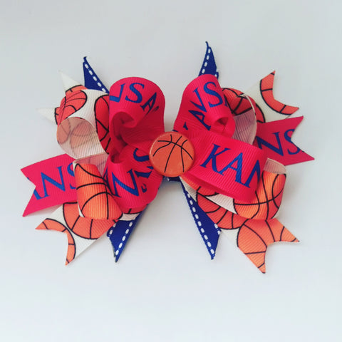 Kansas Jayhawk Basketball Hair Bow - #QtsyLife  Fashion and Planner Accessories - QtsyLife.com