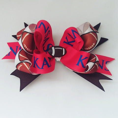 Kansas Jayhawk Football Hair Bow - #QtsyLife  Fashion and Planner Accessories - QtsyLife.com