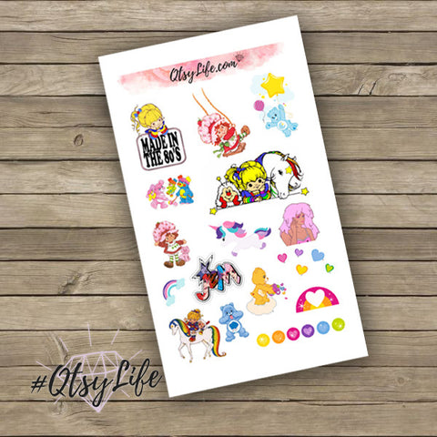 Made in the 1980s planner stickers made to fit any planner done in a rainbow color scheme on QtsyLife.com