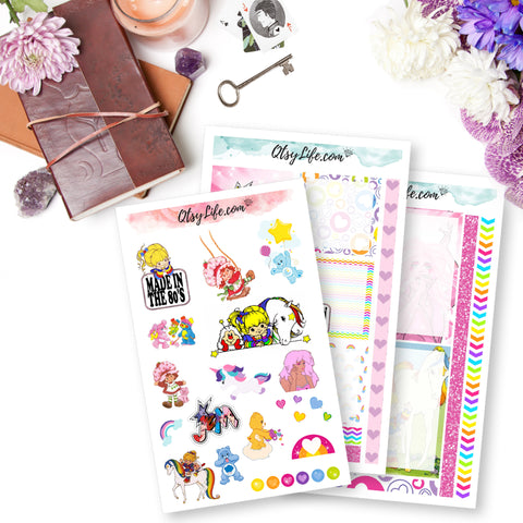made in the 80s planner stickers memory planner stickers great for scrapbooking penpals and parties rainbow brite jem care bears strawberry shortcake theme 80s cartoons