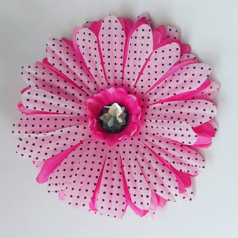 Polka Dot Daisy Hair Flower in Pink and Black - #QtsyLife  Fashion and Planner Accessories - QtsyLife.com